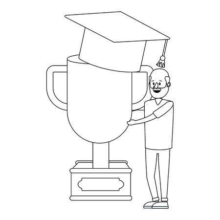 education man holding success trophy cartoon vector illustration graphic design