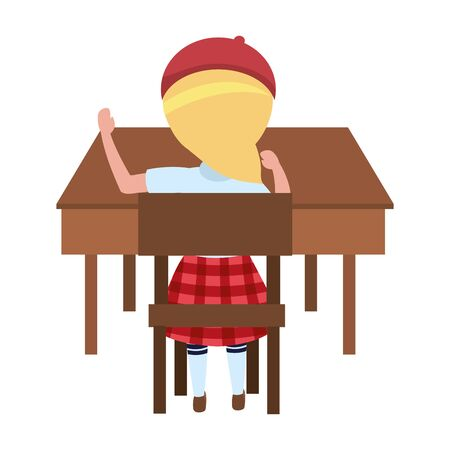 Girl kid in desk design, School education learning knowledge study and class theme Vector illustration Иллюстрация