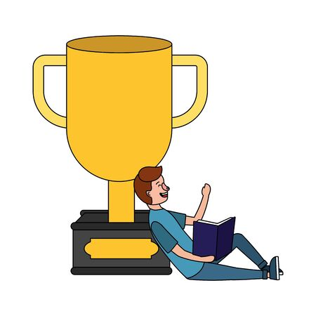 young man reading book over trophy cartoon vector illustration graphic design