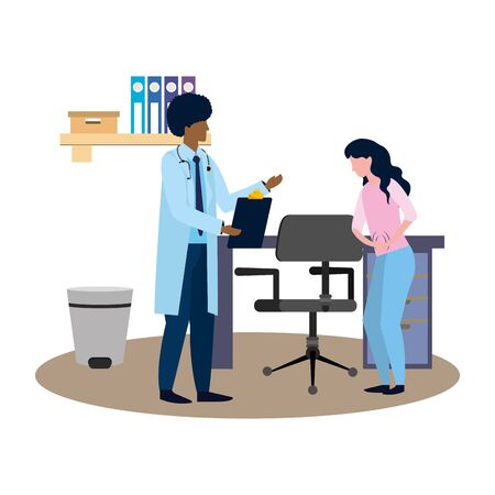 healthcare medical doctor man with woman patient at doctors office cartoon vector illustration graphic design