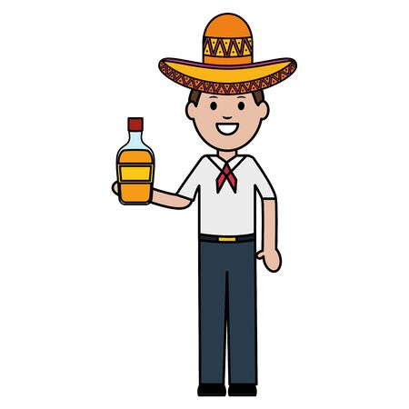 mexican man with tequila bottle character