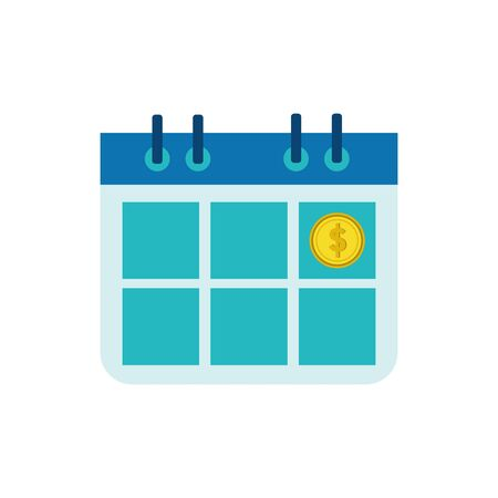 Coin and calendar design, Money finance commerce market payment invest and buy theme Vector illustration