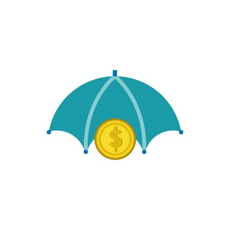 Coin and umbrella design, Money finance commerce market payment invest and buy theme Vector illustration