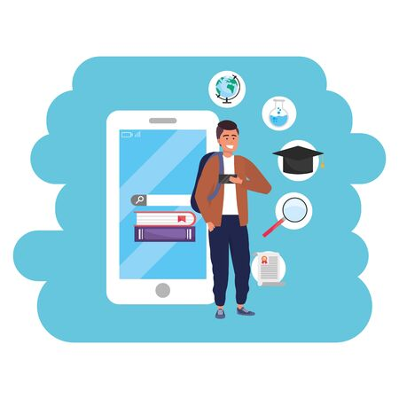 Online education millennial student using smartphone splash frame