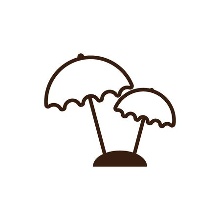 Striped umbrella design, Summer vacation weather protection parasol and season theme Vector illustration 向量圖像