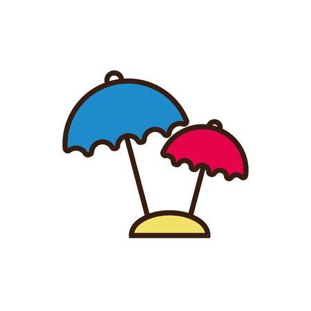 Striped umbrella design, Summer vacation weather protection parasol and season theme Vector illustration Çizim