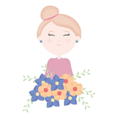 cute little girl with floral bouquet character vector illustration design