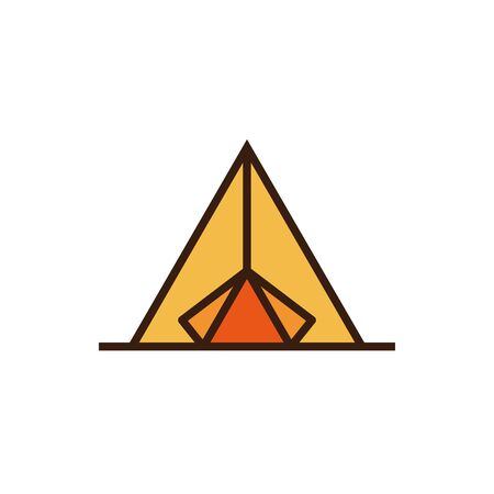Isolated tent icon line and fill vector design