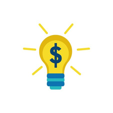 Isolated light bulb and money icon flat vector design  イラスト・ベクター素材