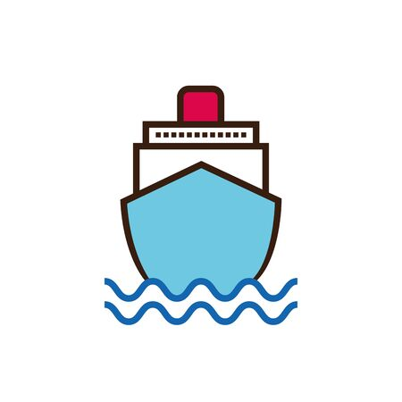 Isolated ship line and fill vector design Çizim