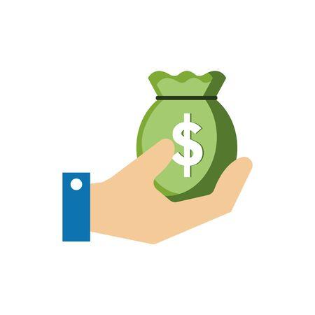 Isolated money bag icon flat vector design  イラスト・ベクター素材