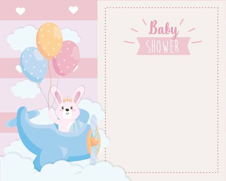 card of cute rabbit in the cradle and balloons