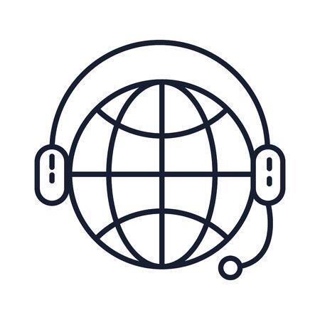 Isolated global sphere line vector design Çizim