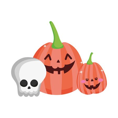 pumpkins and skull trick or treat happy halloween vector illustration