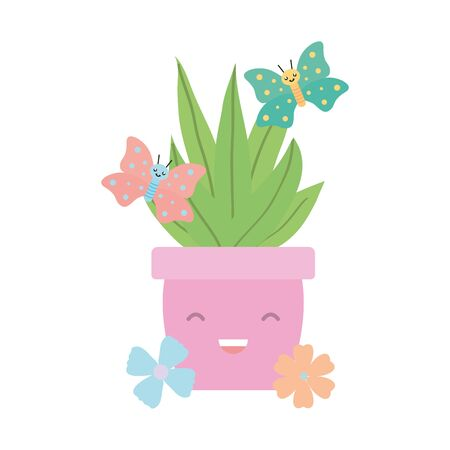 house plant in ceramic pot with butterflies kawaii style vector illustration design Çizim