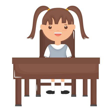 cute little student girl sitting in schooldesk vector illustration design Çizim