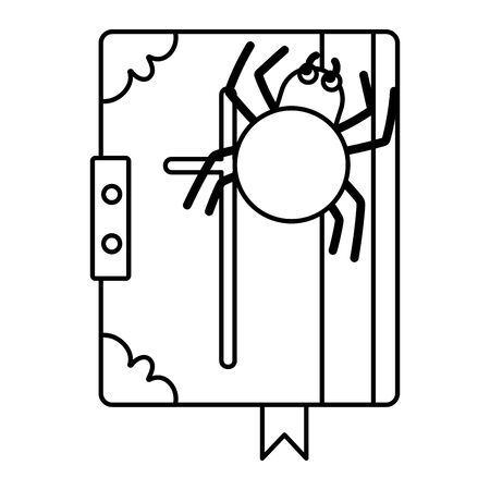 spell book spider trick or treat happy halloween vector illustration line image