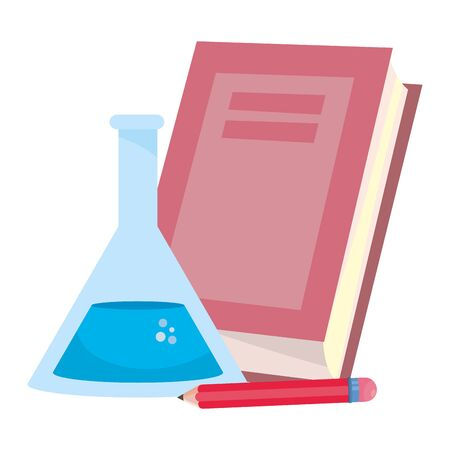 Book flask and pencil design, School supply object education study lesson and class theme Vector illustration