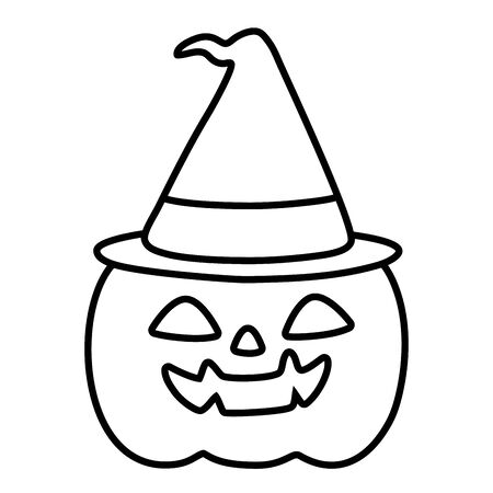 pumpkin with hat trick or treat happy halloween vector illustration line style