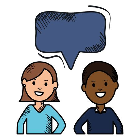 interracial couple with speech bubbles avatars characters vector illustration design Illusztráció