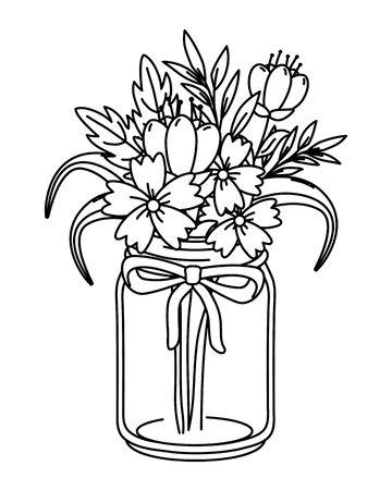 beautiful nature flowers inside decoration mason jar bottle plant pot cartoon vector illustration graphic design Ilustracja