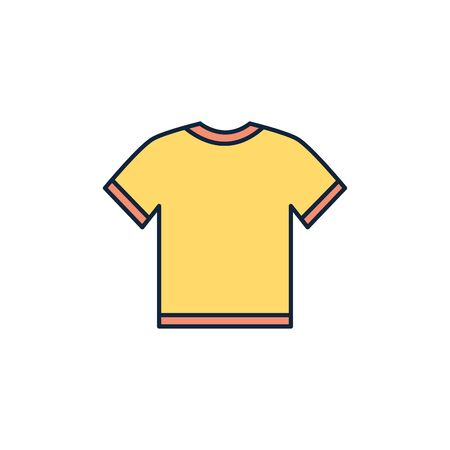 yellow t shirt summer icon line and fill