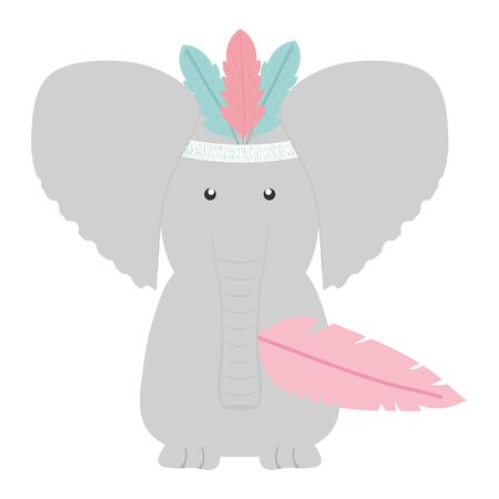 elephant with feathers hat bohemian style vector illustration design