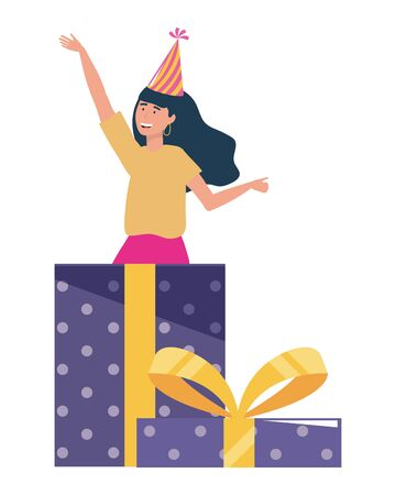 Woman with party hat inside gift design 向量圖像
