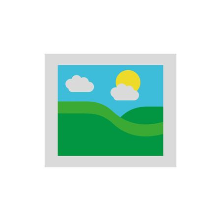 Mountain sun and clouds icon flat vector design