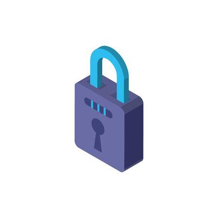 Digital padlock isometric icon vector design Çizim