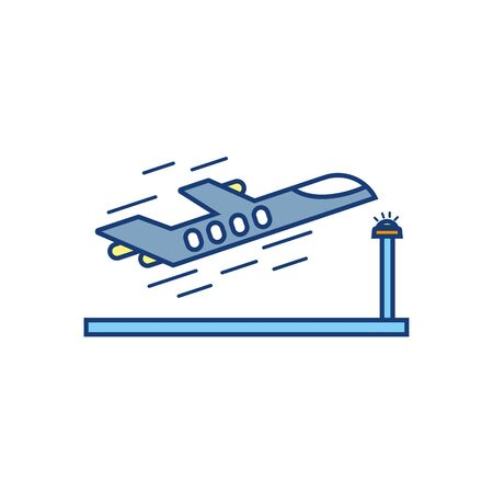 plane taking off travel aviation transport airport Illustration
