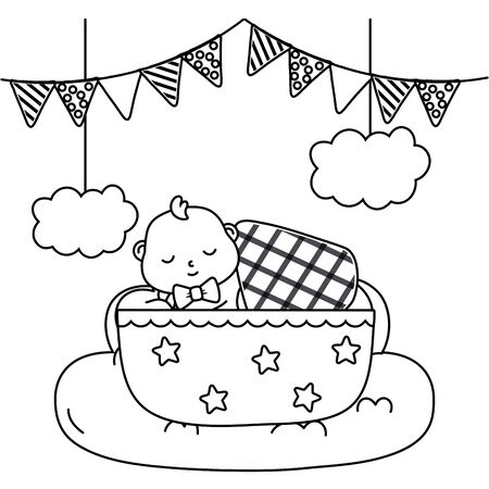 baby sleeping in a cradle in black and white Illustration