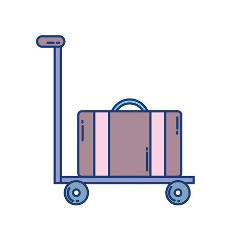 hand cart with suitcase travel aviation transport airport vector illustration