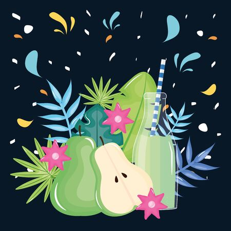 fresh pear half juice fruit in botttle with straw in floral decoration vector illustration