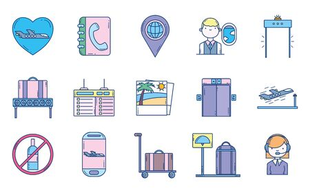 travel aviation transport airport icons white background vector illustration