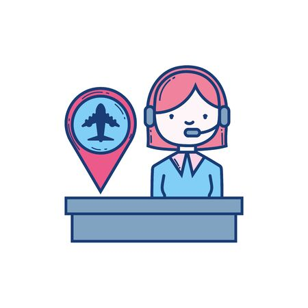 female operator with headset pin destination aviation airport