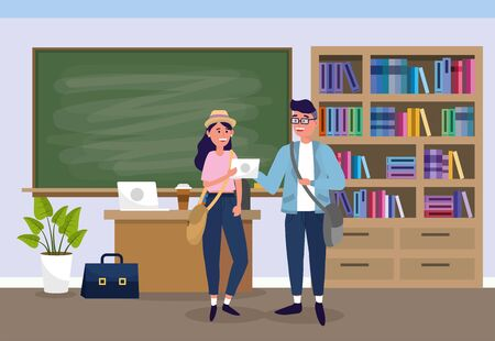boy and girl in the university classroom to learn vector illustration Vectores