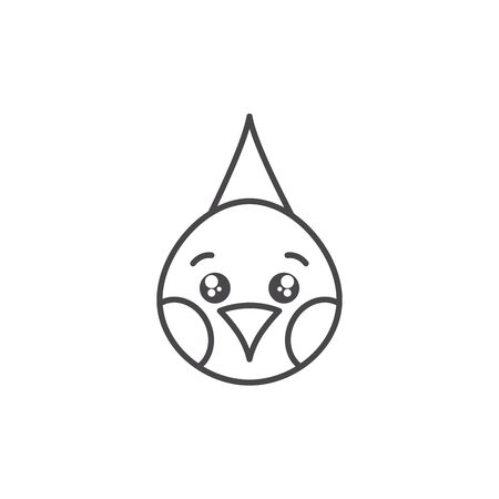 cute bird animal farm line style icon
