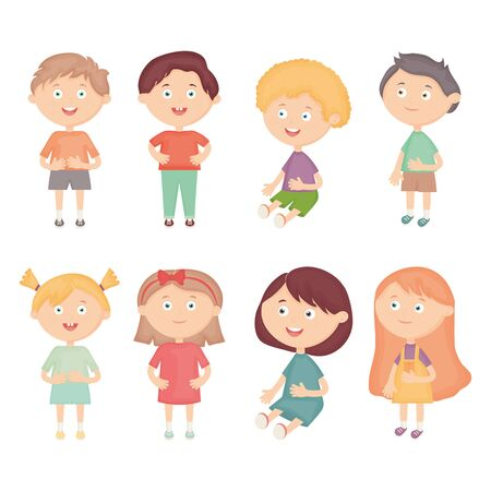 group of little kids characters vector illustration design 向量圖像