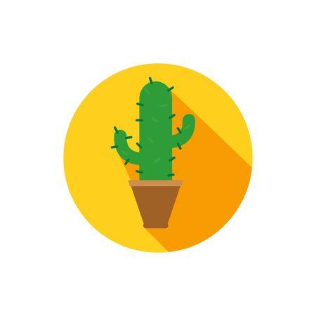 Cactus inside pot block vector design Ilustração