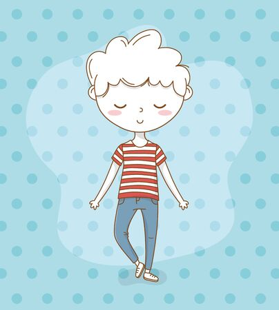 beautiful little boy with dotted background vector illustration design