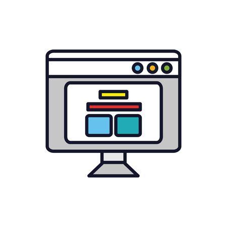 Computer design, Digital technology communication social media internet web and screen theme Vector illustration