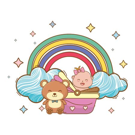 baby shower baby in basket with teddy on rainbow, rainbow and stars cartoon card isolated vector illustration graphic design Çizim