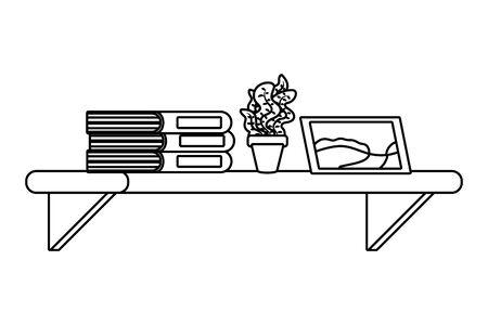 Étagère avec livre plante et icône photo cartoon noir et blanc vector illustration graphic design