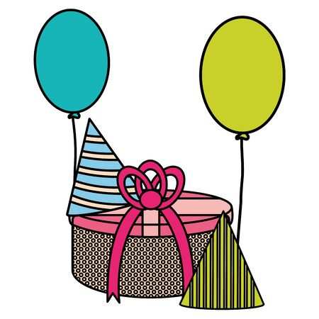 gift box with party hat and balloons helium floating