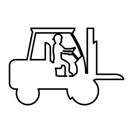 line pictogram laborer with forklift equipment maintenance vector illustration Çizim