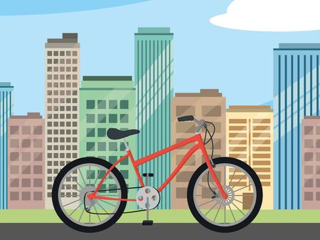 transportation concept mountain bike in front city landscape cartoon vector illustration graphic design