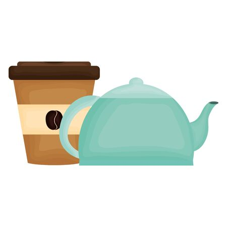 kitchen teapot with coffee in container plastic vector illustration design