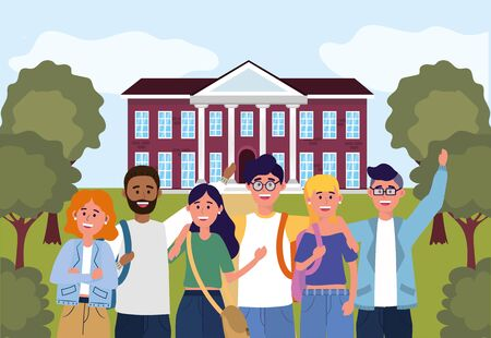 girls and boys students in the education university vector illustration