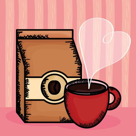 coffee cup with bag product vector illustration design